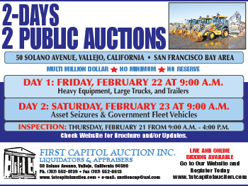 First Capitol Auction | 2-Days 2 Public Auctions | Vallejo, CA | Feb 22 & 23 at 9:00 AM